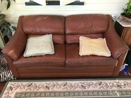 2 Brown leather Moran 'Pillow Suite' 2 seater lounges