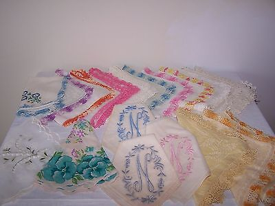 Lot of 19 vintage fancy crochet edge linen and embroidered hankies