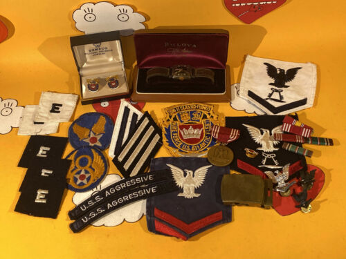 WW2 USN Bulova 10BA Black Dial Watch w/ Patches Mine Force US Atlantic Fleet Lot