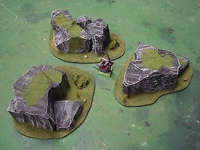 Wargame terrain scenery Rock Formation set  Warhammer Warmachine Saga 40K KoW