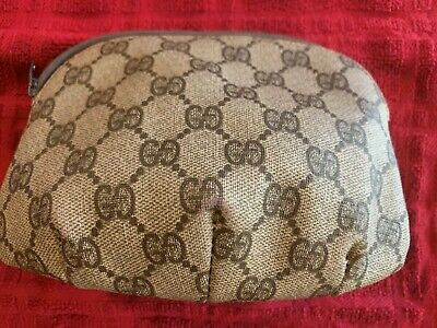 GUCCI Vintage Brown and Tan Accessories Makeup Cosmetic POUCH CASE BAG