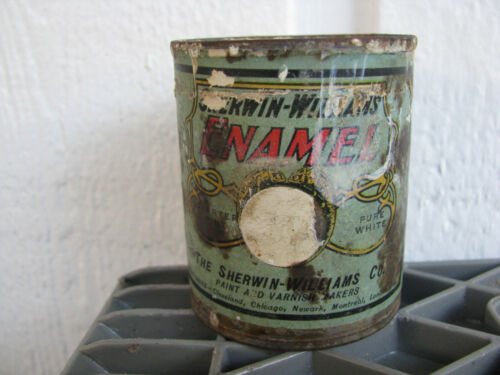 c1890s SHERWIN WILLIAMS QUARTER-PINT PAINT CAN w CHAMELEONS Pure White ANTIQUE