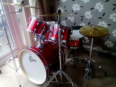 """Gretch Energy 20"""" Drum kit with Hardware & Paiste 101 Set in Wine Red"""