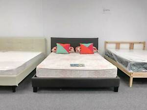 TODAY DELIVERY MODERN LEATHER queen bed frame (mattress sale)