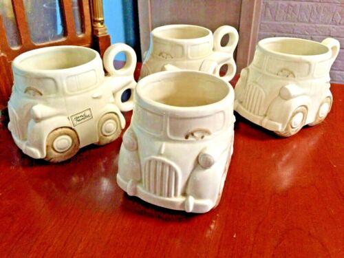 Fitz & Floyd ~Rare Auto Mugs Tea Coffee Cups~Wind Up Key Handle Car ~Set of Four