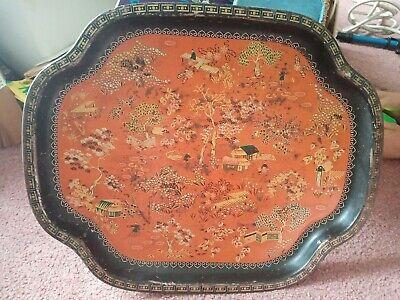 Vintage Oriental Design Metal Tray. Used Collectable. Read Desc