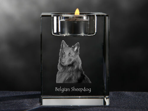 Belgian Sheepdog, crystal candlestick with dog, souvenir, Crystal Animals CA