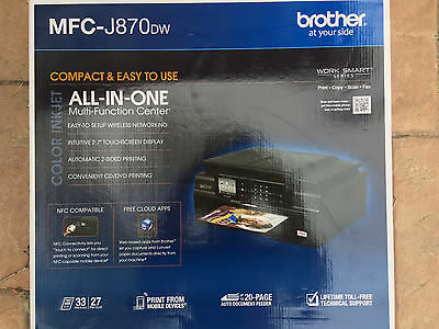 Brand new Brother MFC-J870DW Wireless Inkjet All-In-One TouchScreen Printer