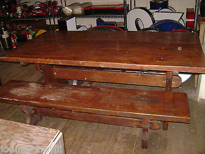Trestle Table Bench - VINTAGE TRESTLE TABLE W/ BENCHES PICNIC STYLE TABLE FARMHOUSE PRIMATIVE