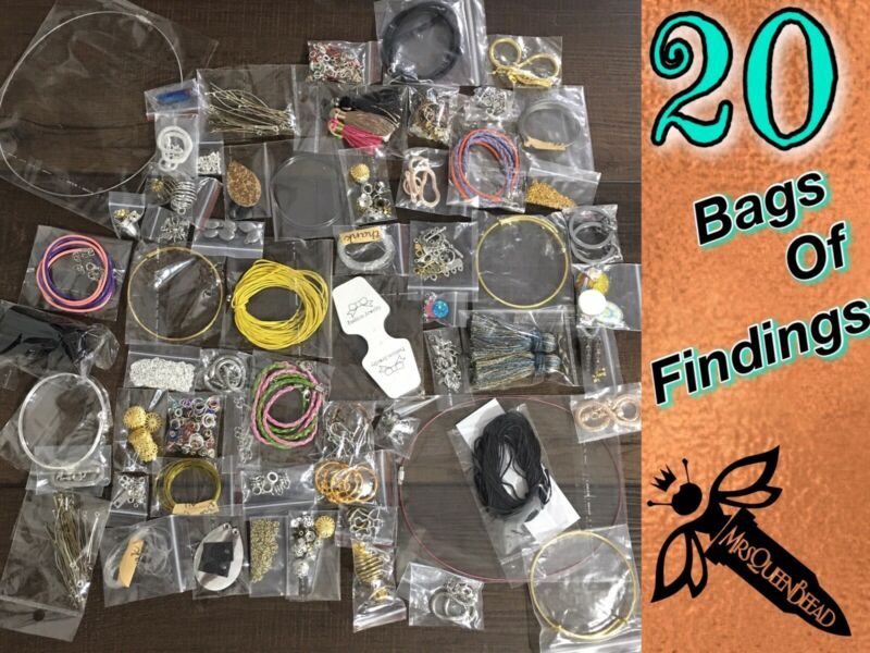 20 Bags Of FINDINGS Jewelry Making Supplies Lot Wire Closures Pendants 👑🐝