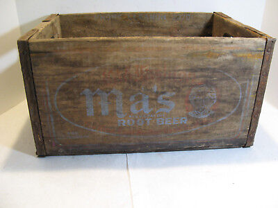 VINTAGE MA'S ROOT BEER WOODEN CRATE BOX