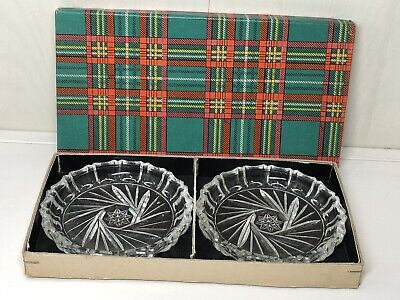 Vintage Art Deco Scottish Pair Of Cut Glass Pin Dishes In Original Tartan Box