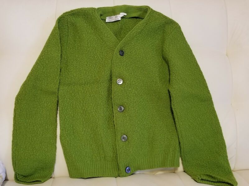 Vintage Sears Childs Kids Acrylic Cardigan Sweater Green Size 6-6x