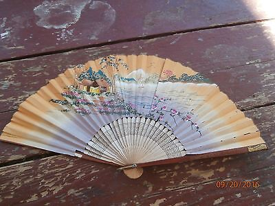 vintage paper folding fan made in japan souvenir cleveland,ohio
