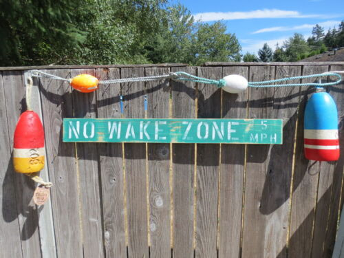 48 INCH WOOD HAND PAINTED NO WAKE ZONE 5MPH SIGN NAUTICAL SEAFOOD (#S832)