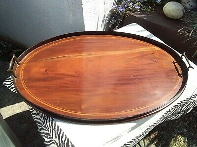 LARGE ANTIQUE VINTAGE OVAL WOODEN SERVING BUTLERS DRINKS TRAY with BRASS HANDLES