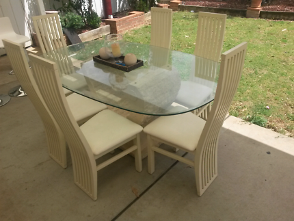 Glass/Stone Dining Table + 6 chairs + coffee table