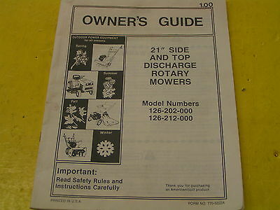 Mtd 21 Side Top Discharge Rotary Mowers Owners Manual Mod126-202-000
