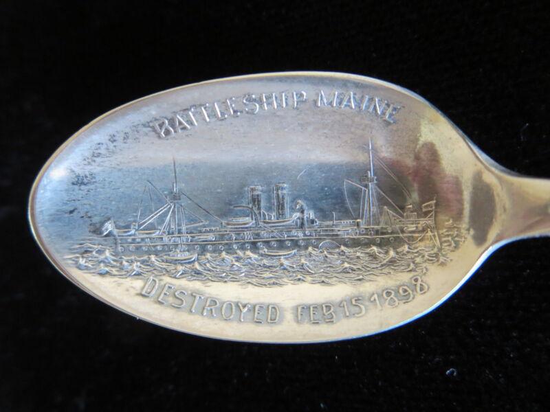 Battleship Maine Demitasse Souvenir Spoon Silver Extra Plate Coin Vintage