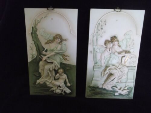 PAIR of Porcelain Kalk Greek Muses / Figurines  Wall Hanging Plaques  S8577