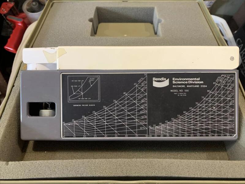 Bendix Psychron 566 Psychrometer With Case, Measure Humidity