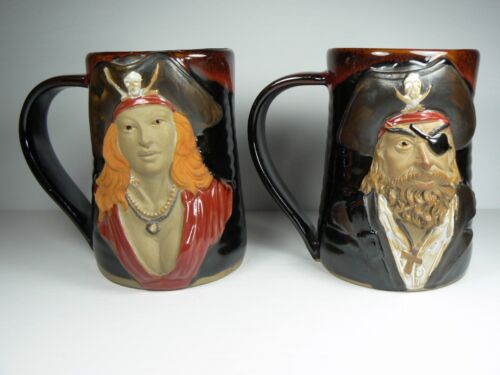 Pirate Mugs 3D Tankards His & Hers Rich Detail Color Always Azul Pottery NEW