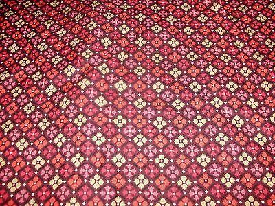 1/2 Yd Decorator fabric Tulip Medallion Pink brown Orange Gold Upholstery