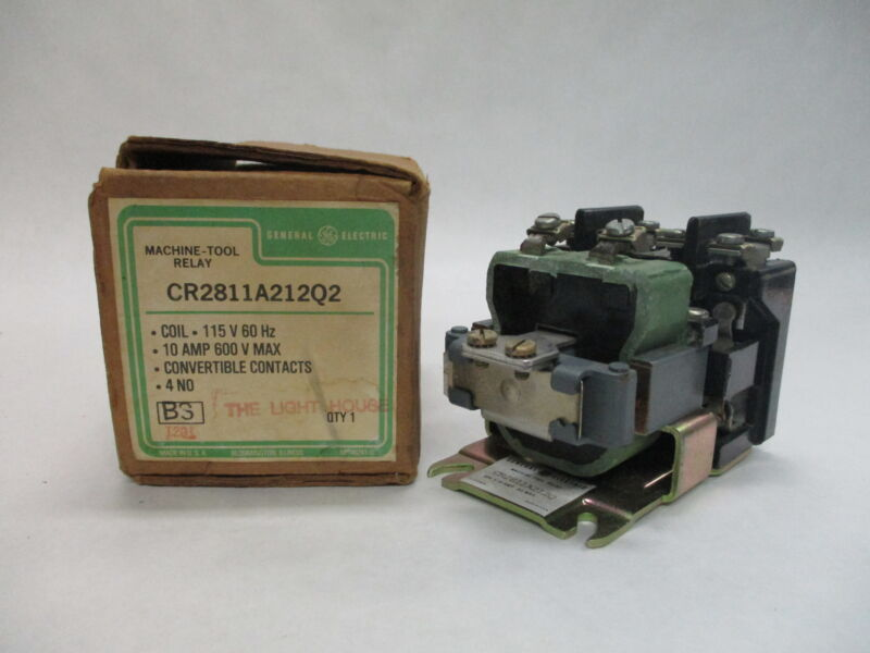 GE CR2811A212Q2 4-Pole Machine Tool Relay 115V 60Hz 10A 600V Max.