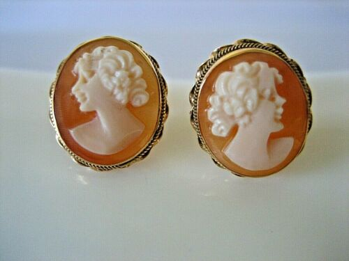 ESTATE VINTAGE 14K YELLOW GOLD SIGNED OTC NATURAL SHELL CAMEO STUD EARRINGS