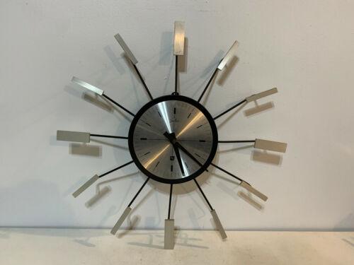 Vintage Mid Century Modern Starburst Sunburst 8 Day Clock Marked Julius & RH
