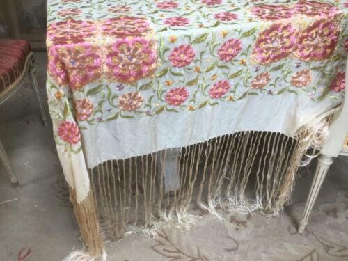 Antique French piano shawl scarf embroidered pink & peach flowers on silk