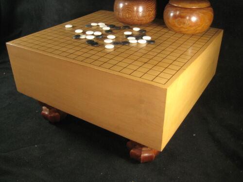 VINTAGE JAPANESE THICK KAYA WOOD GO GAME BOARD GOBAN HAND CARVED WOODEN LEGS