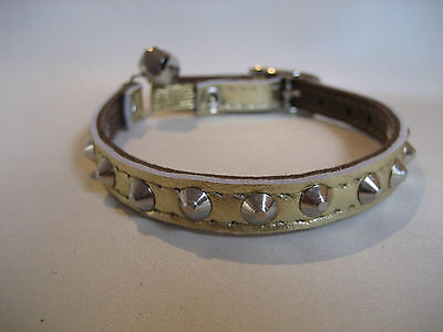 LEATHER GOLD SMALL STUDDED CAT COLLAR