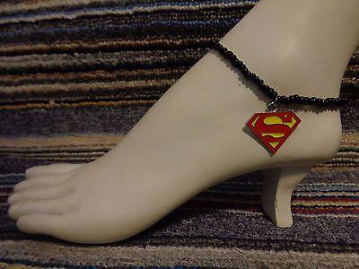 SUPERMAN  enamel charm ankle bracelet beads anklet stretchy beach