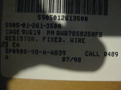 323 Pieces Fixed Wire Resistor Pn Rwr78s8250fs Radio Amplifier Analog New