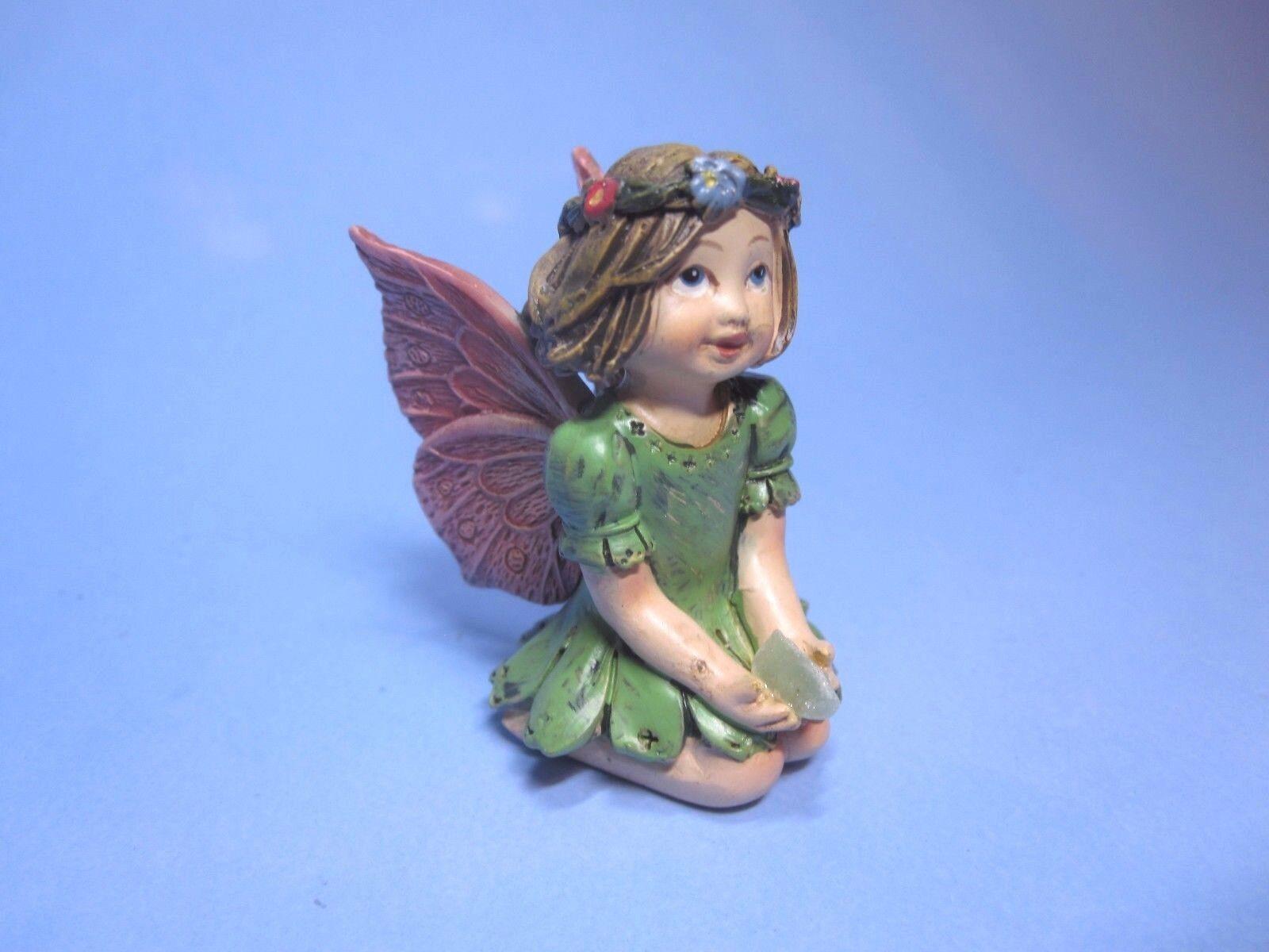Miniature Dollhouse Garden Fairy With A Gem ~ Green Figurine Statue Decor