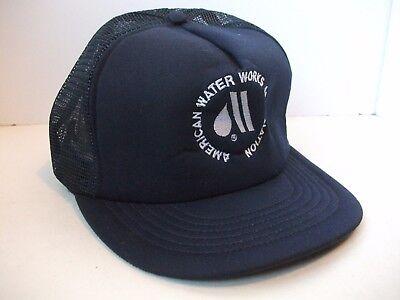 Vintage American Water Works Association Hat Dark Blue Snapback Trucker Cap