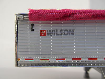 DCP 1/64 SCALE WILSON GRAIN TRAILER WIHTE WITH PINK TARP AND SILVER HOPPERS 4