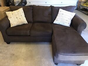 Brown couch with chaise