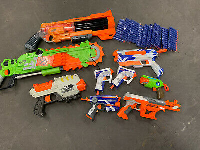 Dart Gun Lot Of 9 Guns Comes With 100 Foam Darts - 7 Nerf 2 Off Brand