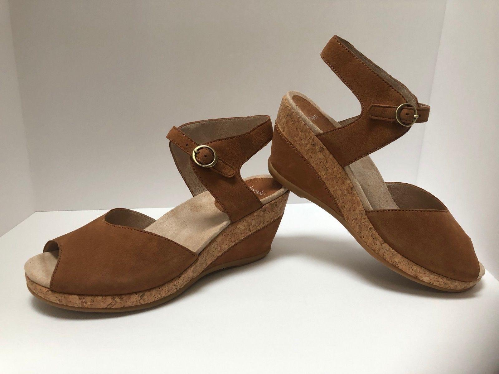 Dansko Women's Charlotte Ankle Strap Wedge Sandals Camel Nub