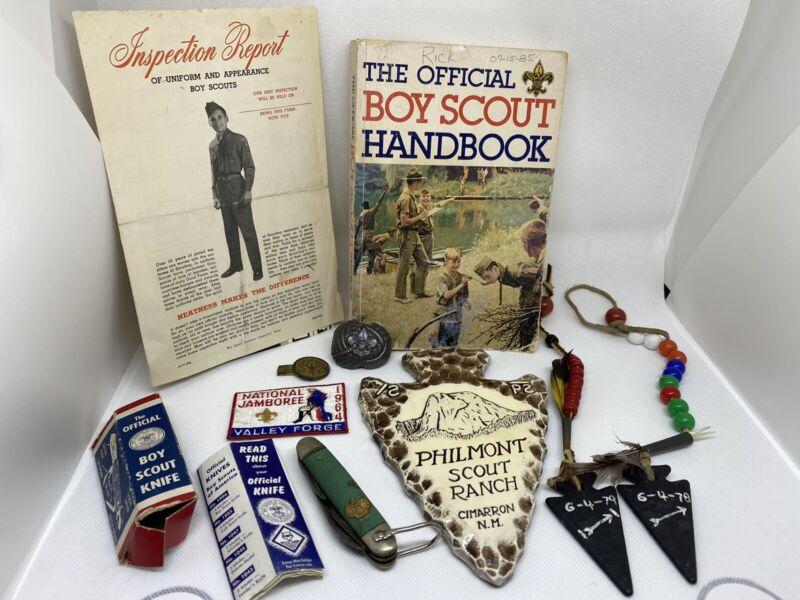 Vintage Boy Scout Lot - Knife - Handbook - Handmade Items - Patch - Etc.