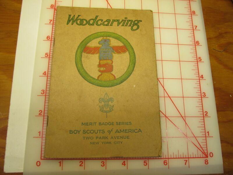 Tan cover Woodcarving merit badge book January 1935 type (3B)