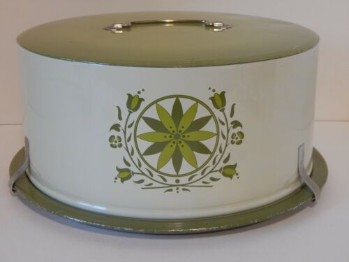 Vintage Decoware Dutch Design White & Green Cake Carrier Cover Saver Plate