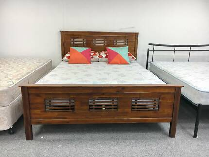 TODAY DELIVERY STRONG BROWN WOODEN QUEEN bed and mattress SALE