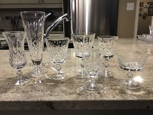 Complete set of cross and olive crystal stemware
