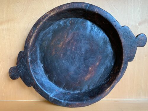 Vintage Solid Wood Chapati Bowl Handmade in India #1