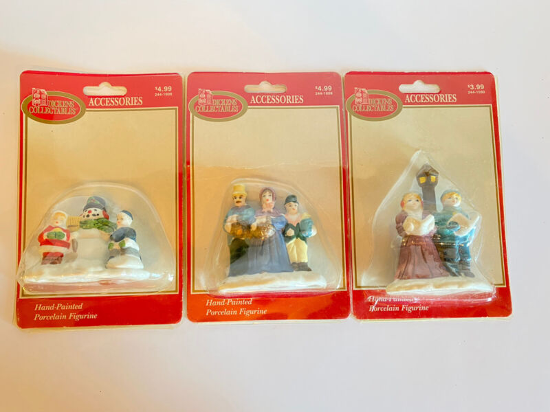 Lot Of 3 Vintage Dickens Collectables Hand Painted Porcelain Christmas Ornaments