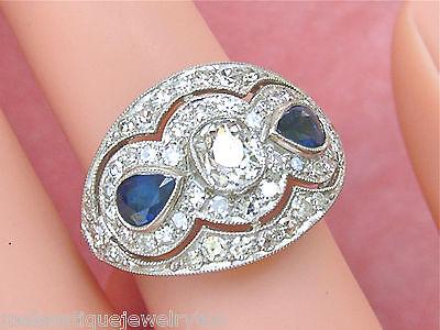 ESTATE ART DECO 1.85ctw CUSHION DIAMOND 2 PEAR SAPPHIRES PLATINUM  COCKTAIL RING