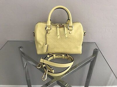 Authentic Louis Vuitton Empreinte Speedy 25 Bandouliere Citrine Yellow Bag